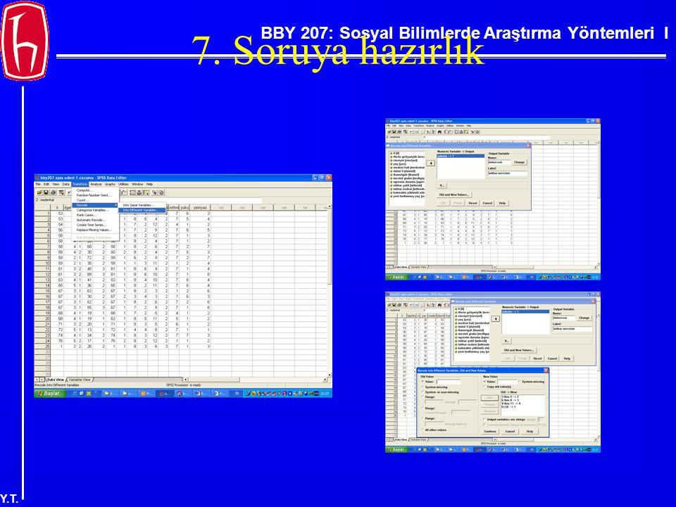 BBY 207: Sosyal Bilimlerde Araştırma Yöntemleri I Y.T. 7. Soruya hazırlık