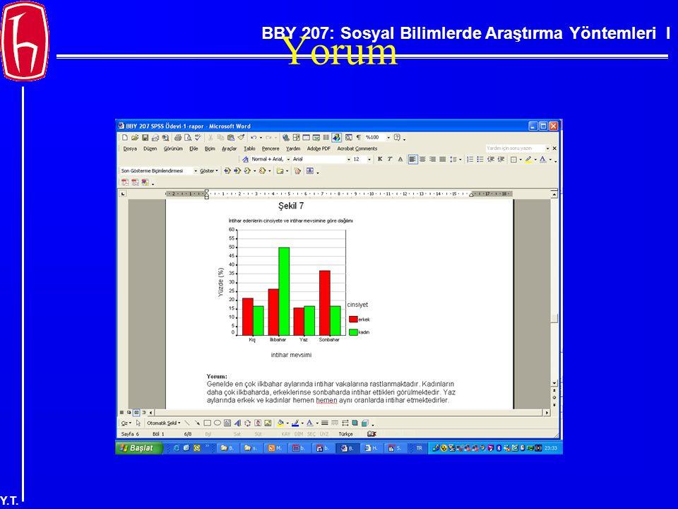 BBY 207: Sosyal Bilimlerde Araştırma Yöntemleri I Y.T. Yorum