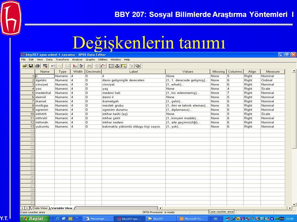 BBY 207: Sosyal Bilimlerde Araştırma Yöntemleri I Y.T. Değişkenlerin tanımı