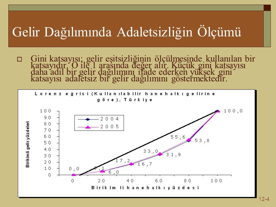 12-4 Gelir Dağılımında Adaletsizliğin Ölçümü  Gini katsayısı; gelir eşitsizliğinin ölçülmesinde kullanılan bir katsayıdır.