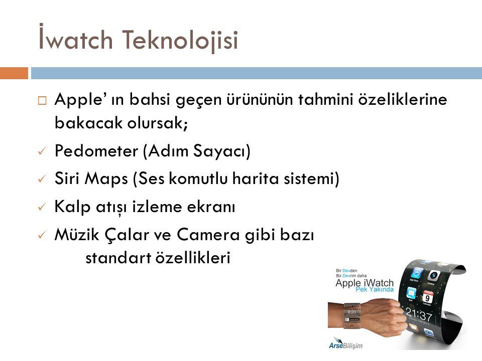 İ watch Teknolojisi  Apple' ın bahsi geçen ürününün tahmini özeliklerine bakacak olursak; Pedometer (Adım Sayacı) Siri Maps (Ses komutlu harita siste