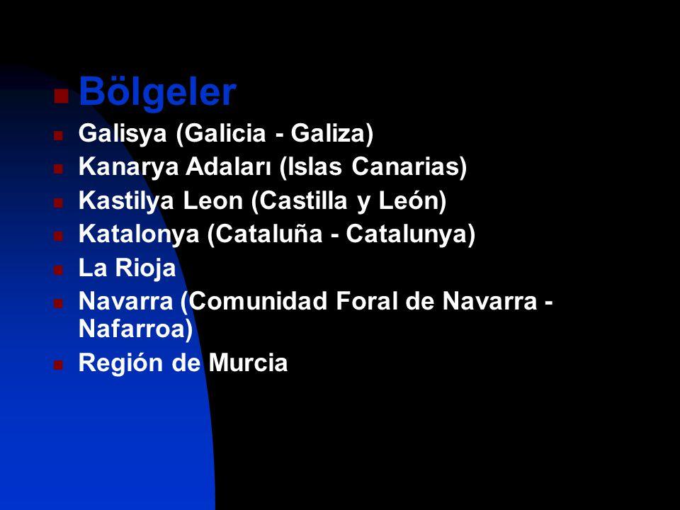 Bölgeler Galisya (Galicia - Galiza) Kanarya Adaları (Islas Canarias) Kastilya Leon (Castilla y León) Katalonya (Cataluña - Catalunya) La Rioja Navarra