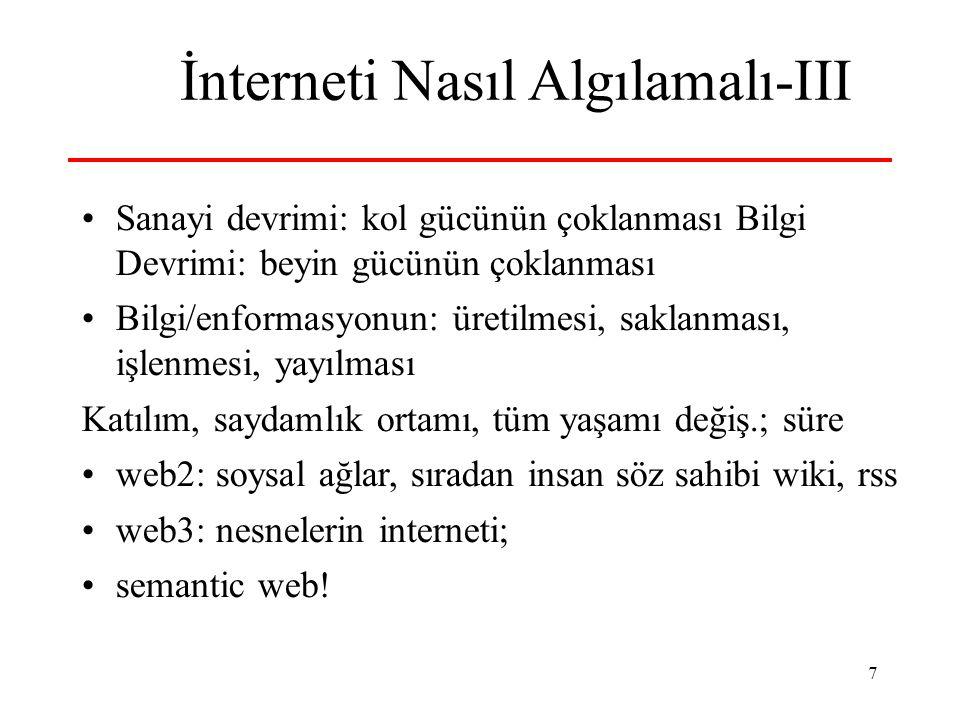 7 İnterneti Nasıl Algılamalı-III Sanayi devrimi: kol gücünün çoklanması Bilgi Devrimi: beyin gücünün çoklanması Bilgi/enformasyonun: üretilmesi, saklanması, işlenmesi, yayılması Katılım, saydamlık ortamı, tüm yaşamı değiş.; süre web2: soysal ağlar, sıradan insan söz sahibi wiki, rss web3: nesnelerin interneti; semantic web!