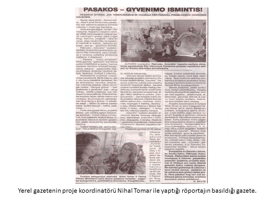 Yerel gazetenin proje koordinatörü Nihal Tomar ile yaptığı röportajın basıldığı gazete.