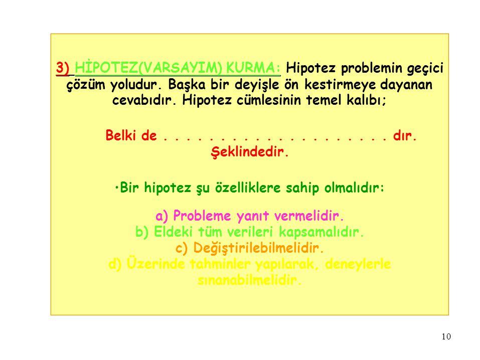 3) HİPOTEZ(VARSAYIM) KURMA: Hipotez problemin geçici çözüm yoludur. Başka bir deyişle ön kestirmeye dayanan cevabıdır. Hipotez cümlesinin temel kalıbı