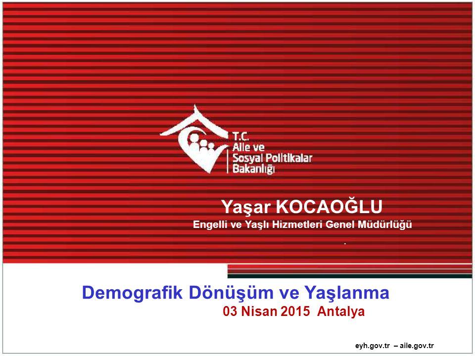 """Kaynak: TUİK (Erişim tarihi Mart 2015)Türkiye """" 'nin Demografik Dönüşümü Türkiye'de; Sosyal transferlerden yararlanan yaşlı (65+) nüfus oranları; 2012 yılında %76,6 2013 yılında %76,0 Bu oran; Erkeklerde %71,4 Kadınlarda % 85,0 Engelli ve Yaşlı Hizmetleri Genel Müdürlüğü"""