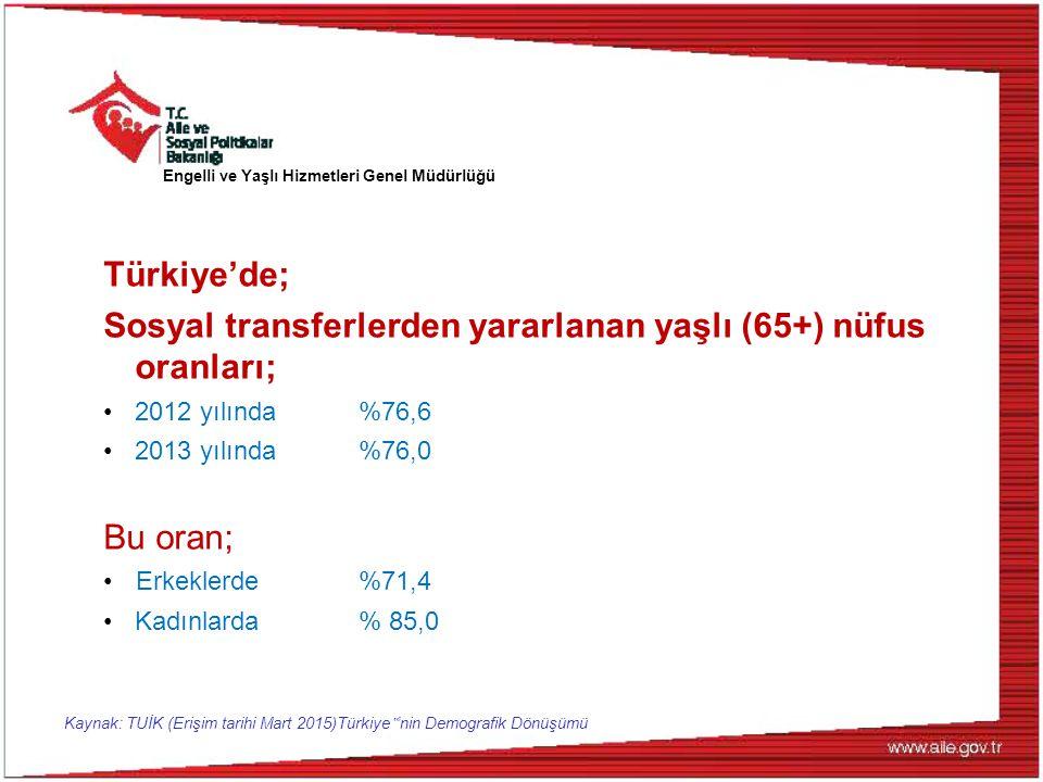"""Kaynak: TUİK (Erişim tarihi Mart 2015)Türkiye """" 'nin Demografik Dönüşümü Türkiye'de; Sosyal transferlerden yararlanan yaşlı (65+) nüfus oranları; 2012"""