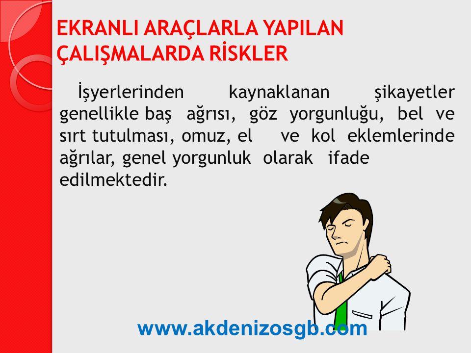 İşyerlerinden kaynaklanan şikayetler genellikle baş ağrısı, göz yorgunluğu, bel ve sırt tutulması, omuz, el ve kol eklemlerinde ağrılar, genel yorgunl