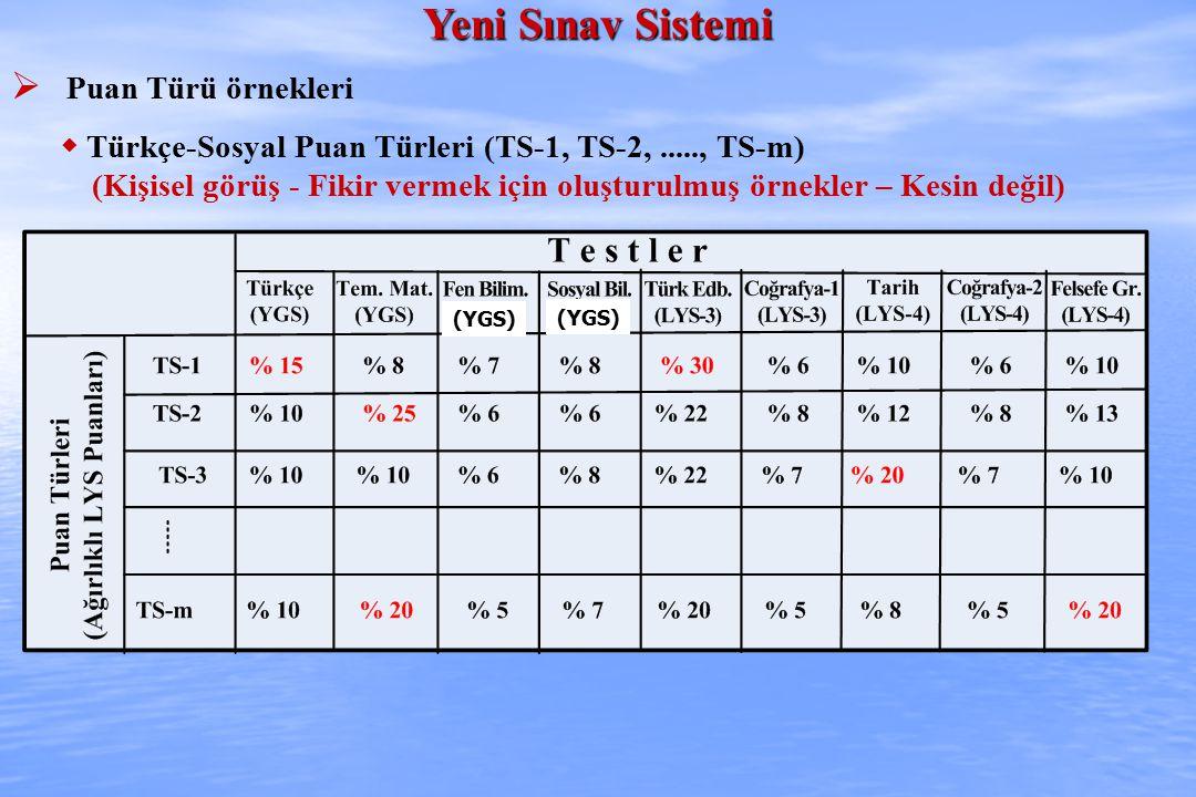 Yeni Sınav Sistemi  Puan Türü örnekleri  Türkçe-Sosyal Puan Türleri (TS-1, TS-2,....., TS-m) (Kişisel görüş - Fikir vermek için oluşturulmuş örnekler – Kesin değil) (YGS)