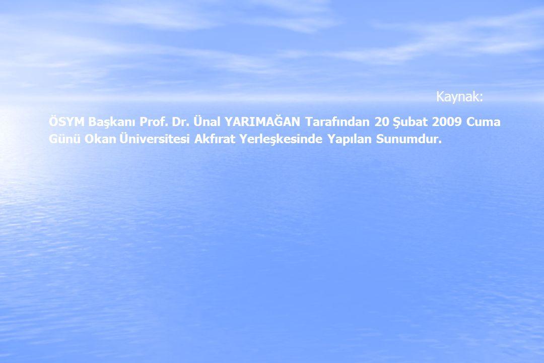 Kaynak: ÖSYM Başkanı Prof. Dr. Ünal YARIMAĞAN Tarafından 20 Şubat 2009 Cuma Günü Okan Üniversitesi Akfırat Yerleşkesinde Yapılan Sunumdur.