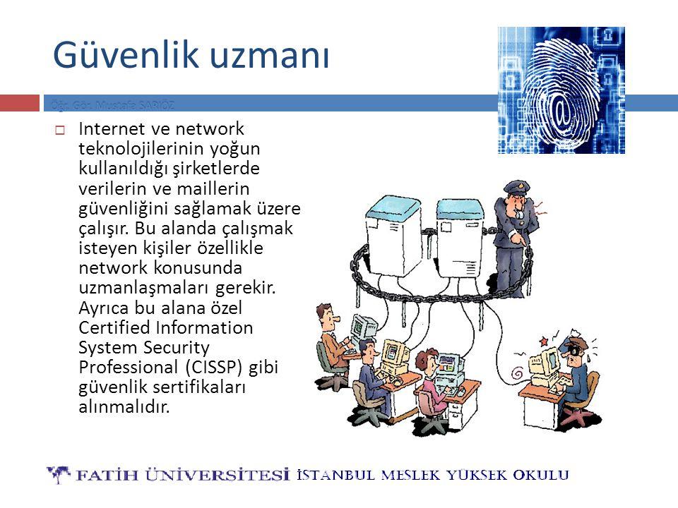 Güvenlik uzmanı  Internet ve network teknolojilerinin yoğun kullanıldığı şirketlerde verilerin ve maillerin güvenliğini sağlamak üzere çalışır.