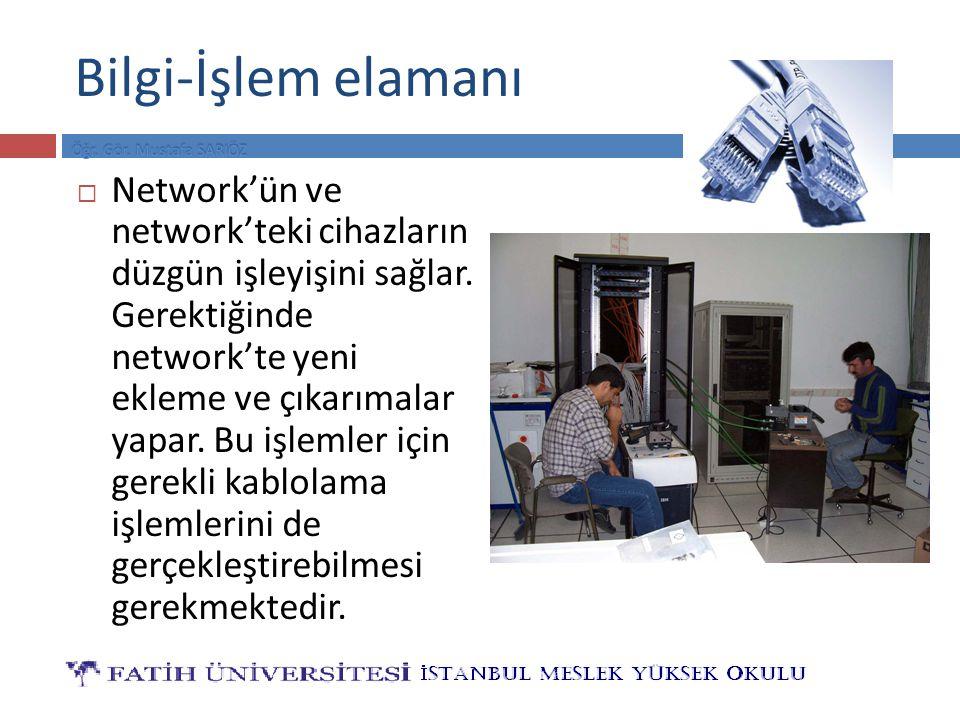 Bilgi-İşlem elamanı  Network'ün ve network'teki cihazların düzgün işleyişini sağlar. Gerektiğinde network'te yeni ekleme ve çıkarımalar yapar. Bu işl