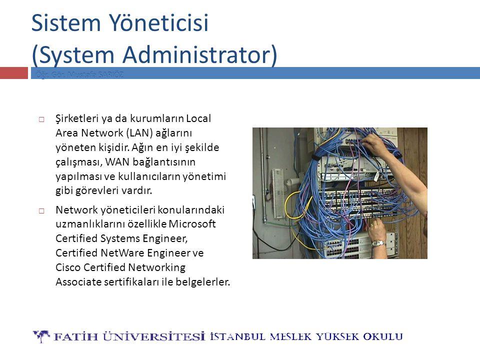 Sistem Yöneticisi (System Administrator)  Şirketleri ya da kurumların Local Area Network (LAN) ağlarını yöneten kişidir.