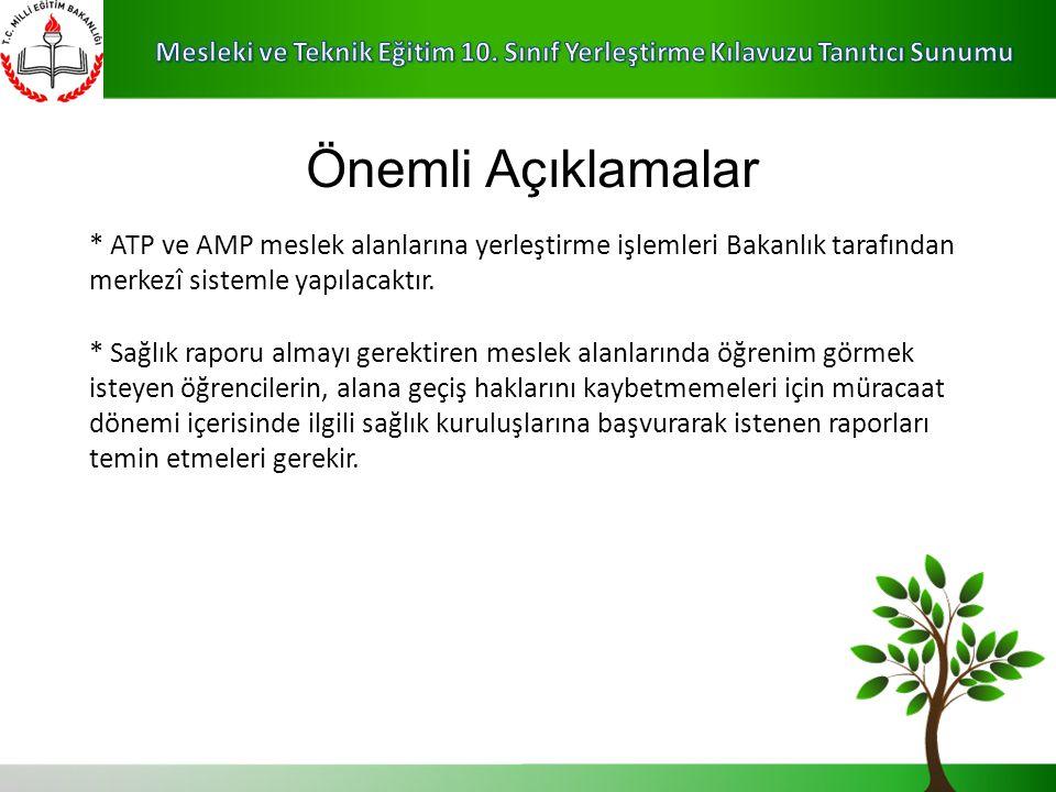 * ATP ve AMP meslek alanlarına yerleştirme işlemleri Bakanlık tarafından merkezî sistemle yapılacaktır.