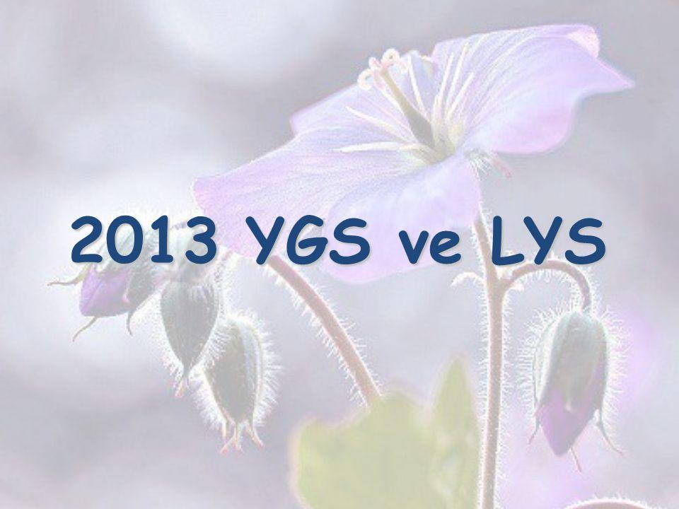 2013 YGS ve LYS 2013 YGS ve LYS