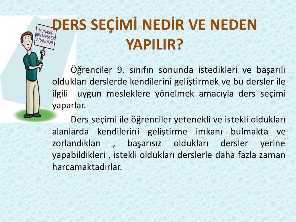 11.SINIF SEÇMELİ DERSLER 10.