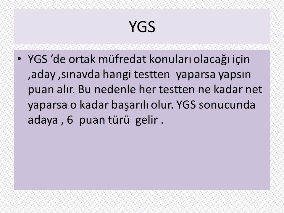 YGS YGS 'de ortak müfredat konuları olacağı için,aday,sınavda hangi testten yaparsa yapsın puan alır. Bu nedenle her testten ne kadar net yaparsa o ka
