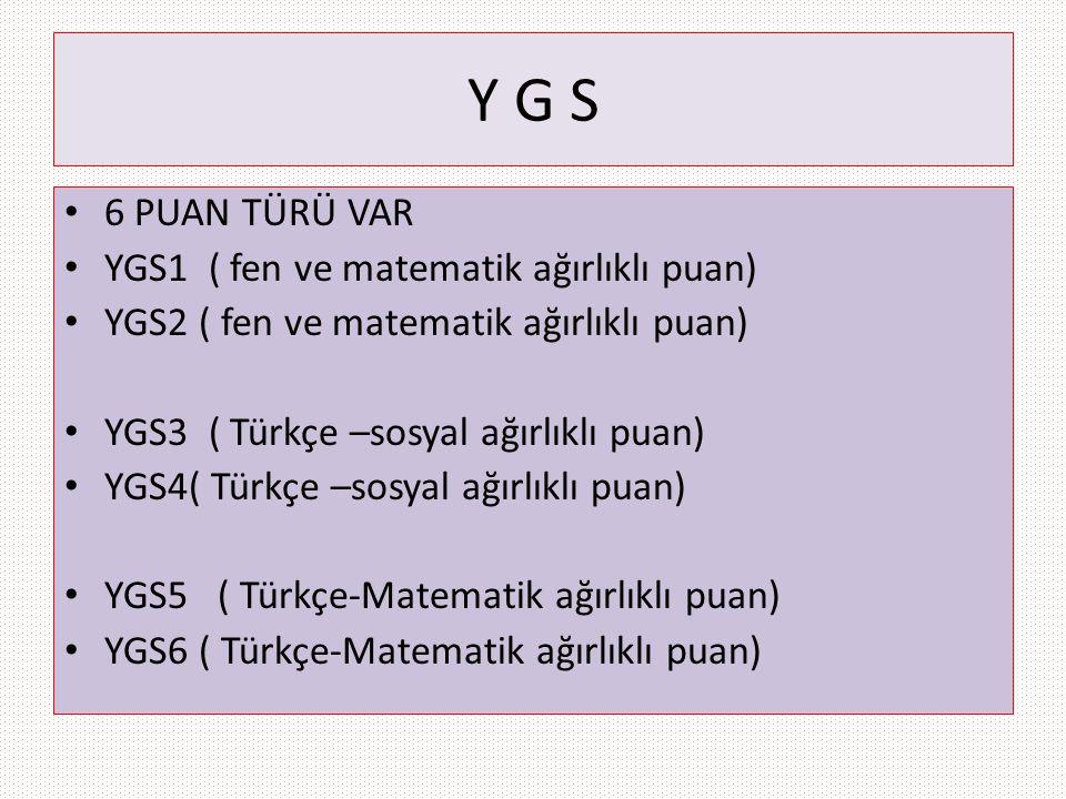 Y G S 6 PUAN TÜRÜ VAR YGS1 ( fen ve matematik ağırlıklı puan) YGS2 ( fen ve matematik ağırlıklı puan) YGS3 ( Türkçe –sosyal ağırlıklı puan) YGS4( Türk