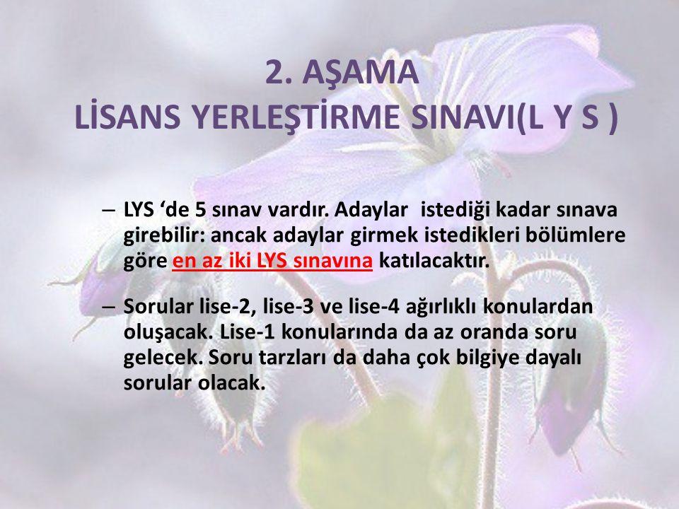 2. AŞAMA LİSANS YERLEŞTİRME SINAVI(L Y S ) – LYS 'de 5 sınav vardır. Adaylar istediği kadar sınava girebilir: ancak adaylar girmek istedikleri bölümle