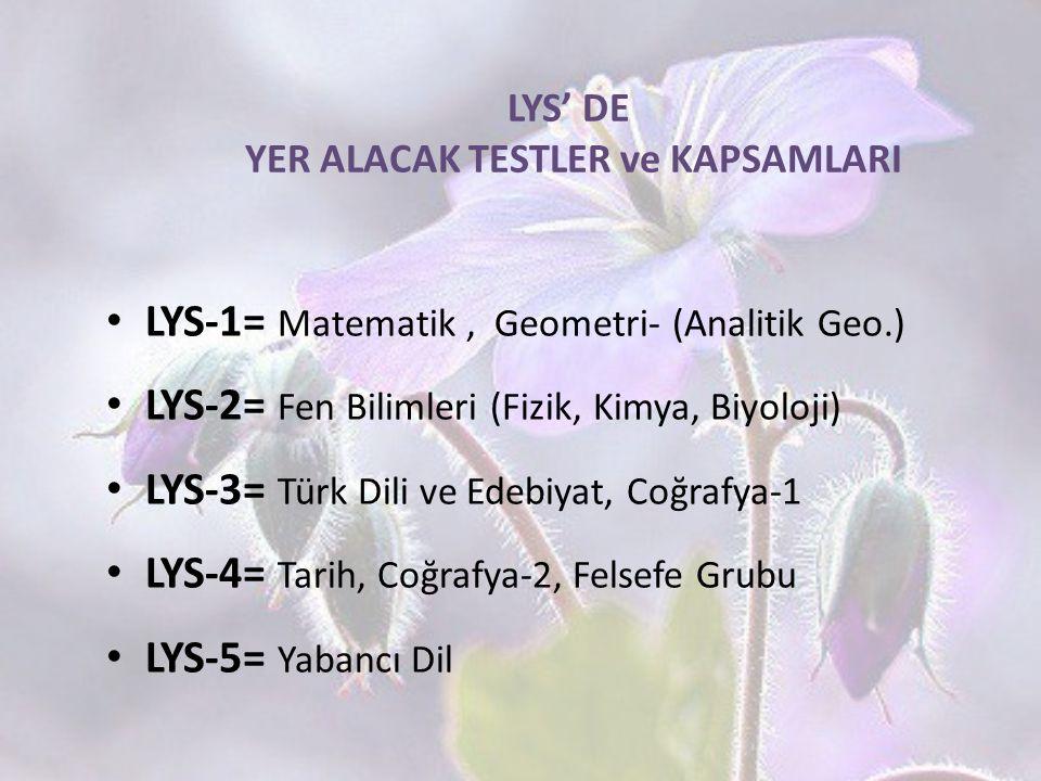 LYS' DE YER ALACAK TESTLER ve KAPSAMLARI LYS-1= Matematik, Geometri- (Analitik Geo.) LYS-2= Fen Bilimleri (Fizik, Kimya, Biyoloji) LYS-3= Türk Dili ve