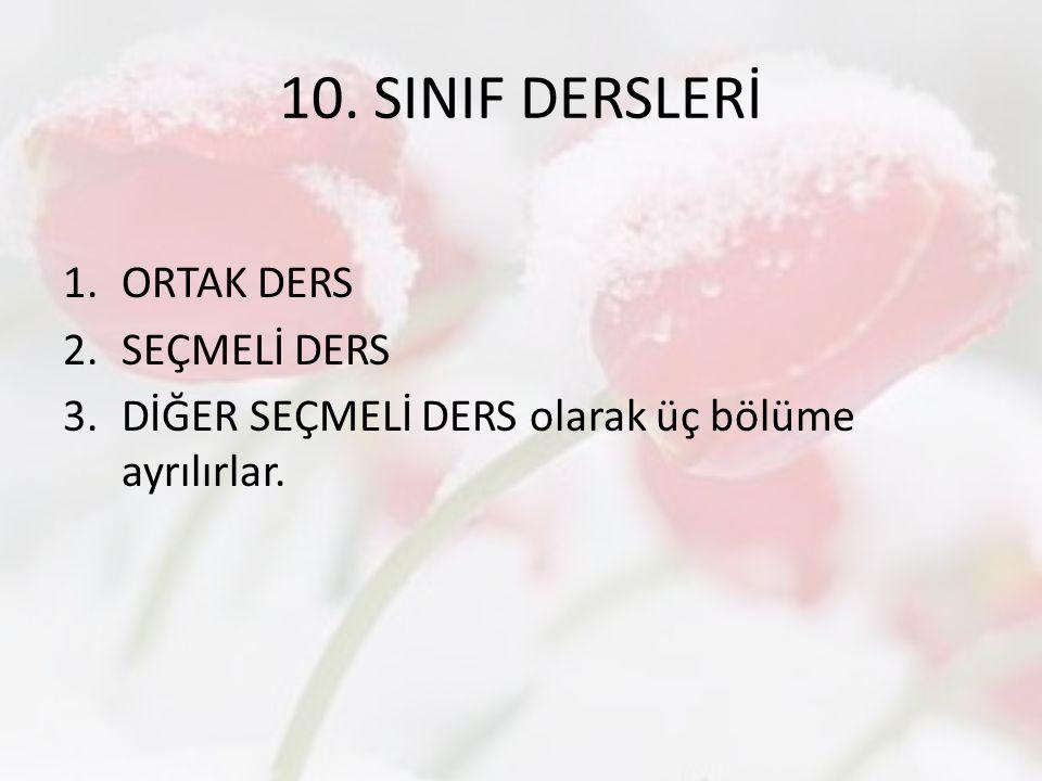 10.SINIF SEÇMELİ DERSLER 9.