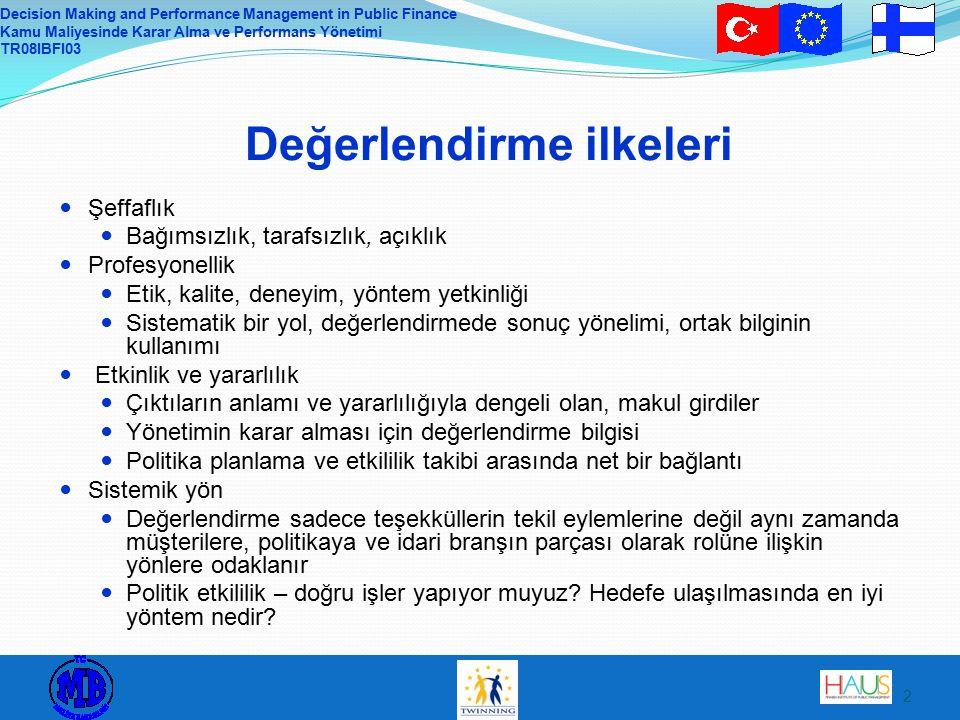 Decision Making and Performance Management in Public Finance Kamu Maliyesinde Karar Alma ve Performans Yönetimi TR08IBFI03 3 Uzaktan eğitim ödevi 1.Türk idaresinde hangi değerlendirme yöntemleri kullanılmaktadır.