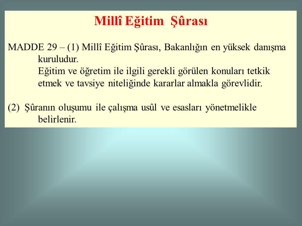 Millî Eğitim Şûrası MADDE 29 – (1) Millî Eğitim Şûrası, Bakanlığın en yüksek danışma kuruludur.