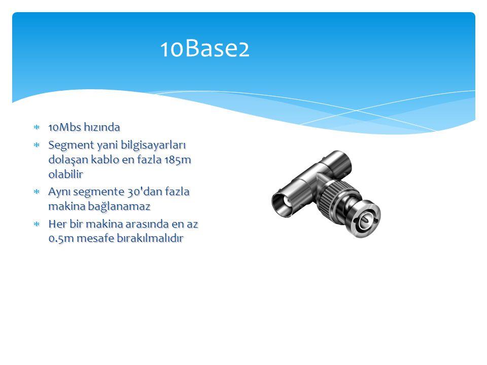 10Base2  10Mbs hızında  Segment yani bilgisayarları dolaşan kablo en fazla 185m olabilir  Aynı segmente 30'dan fazla makina bağlanamaz  Her bir ma