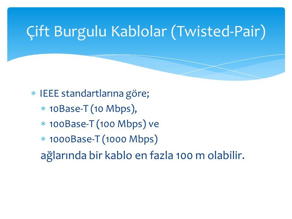 Çift Burgulu Kablolar (Twisted-Pair)  IEEE standartlarına göre;  10Base-T (10 Mbps),  100Base-T (100 Mbps) ve  1000Base-T (1000 Mbps) ağlarında bi