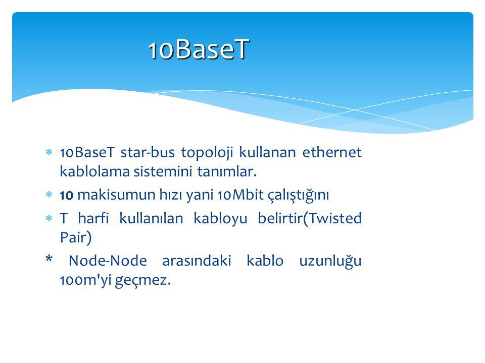 10BaseT  10BaseT star-bus topoloji kullanan ethernet kablolama sistemini tanımlar.  10 makisumun hızı yani 10Mbit çalıştığını  T harfi kullanılan k