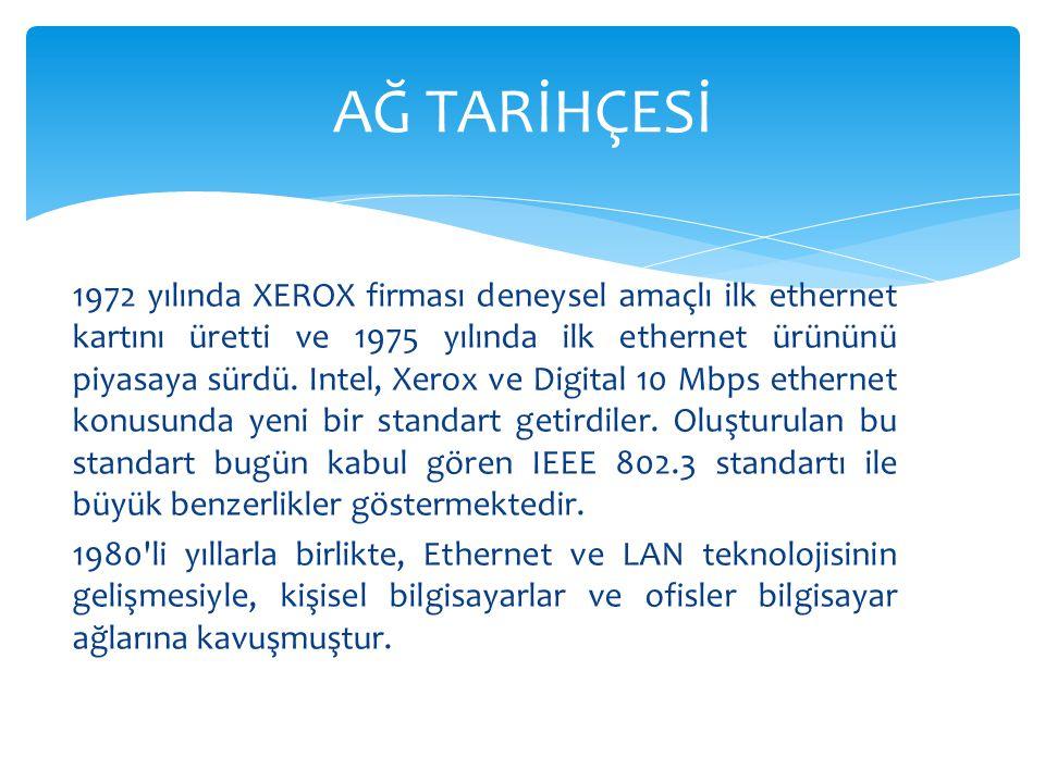 1972 yılında XEROX firması deneysel amaçlı ilk ethernet kartını üretti ve 1975 yılında ilk ethernet ürününü piyasaya sürdü. Intel, Xerox ve Digital 10