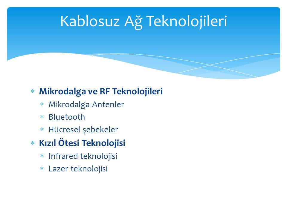 Kablosuz Ağ Teknolojileri  Mikrodalga ve RF Teknolojileri  Mikrodalga Antenler  Bluetooth  Hücresel şebekeler  Kızıl Ötesi Teknolojisi  Infrared