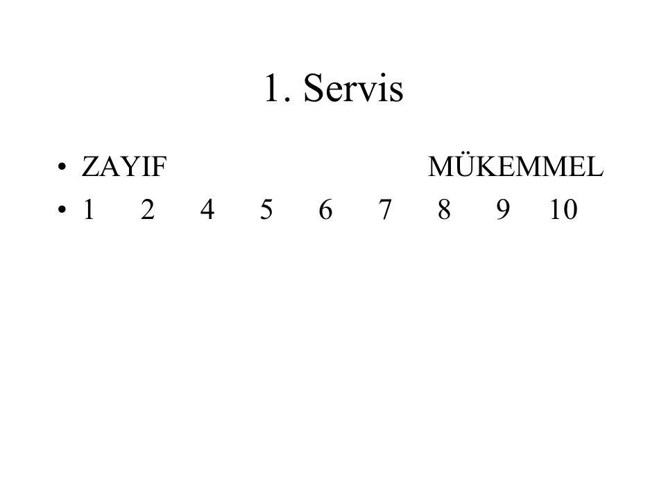 1. Servis ZAYIF MÜKEMMEL 1 2 4 5 6 7 8 9 10