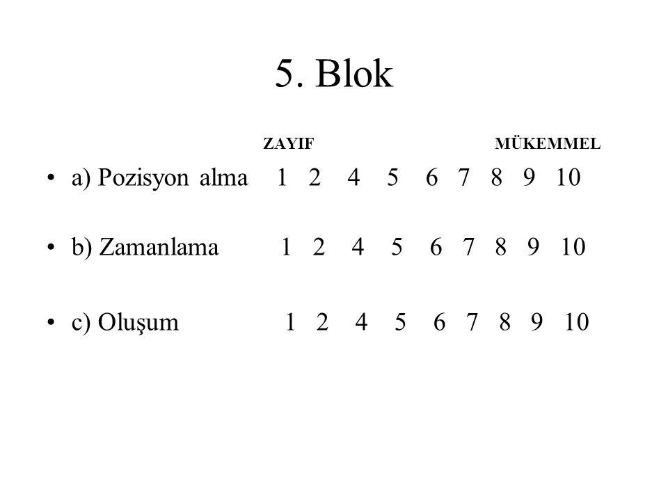 5. Blok ZAYIF MÜKEMMEL a) Pozisyon alma 1 2 4 5 6 7 8 9 10 b) Zamanlama 1 2 4 5 6 7 8 9 10 c) Oluşum 1 2 4 5 6 7 8 9 10