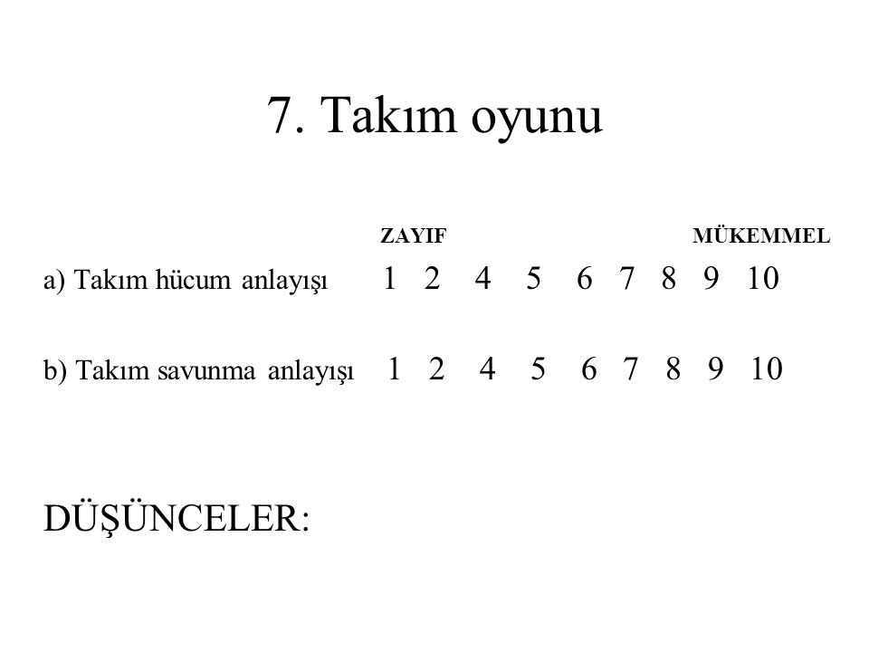 PSİKOLOJİK ÖZELLİKLER ZAYIF MÜKEMMEL 1.Hırs 1 2 4 5 6 7 8 9 10 2.