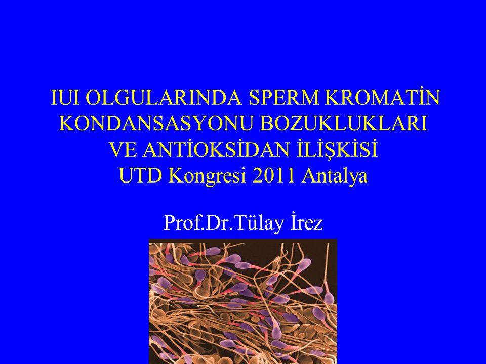 IUI OLGULARINDA SPERM KROMATİN KONDANSASYONU BOZUKLUKLARI VE ANTİOKSİDAN İLİŞKİSİ UTD Kongresi 2011 Antalya Prof.Dr.Tülay İrez