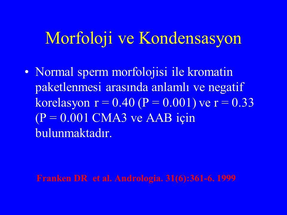 Morfoloji ve Kondensasyon Normal sperm morfolojisi ile kromatin paketlenmesi arasında anlamlı ve negatif korelasyon r = 0.40 (P = 0.001) ve r = 0.33 (