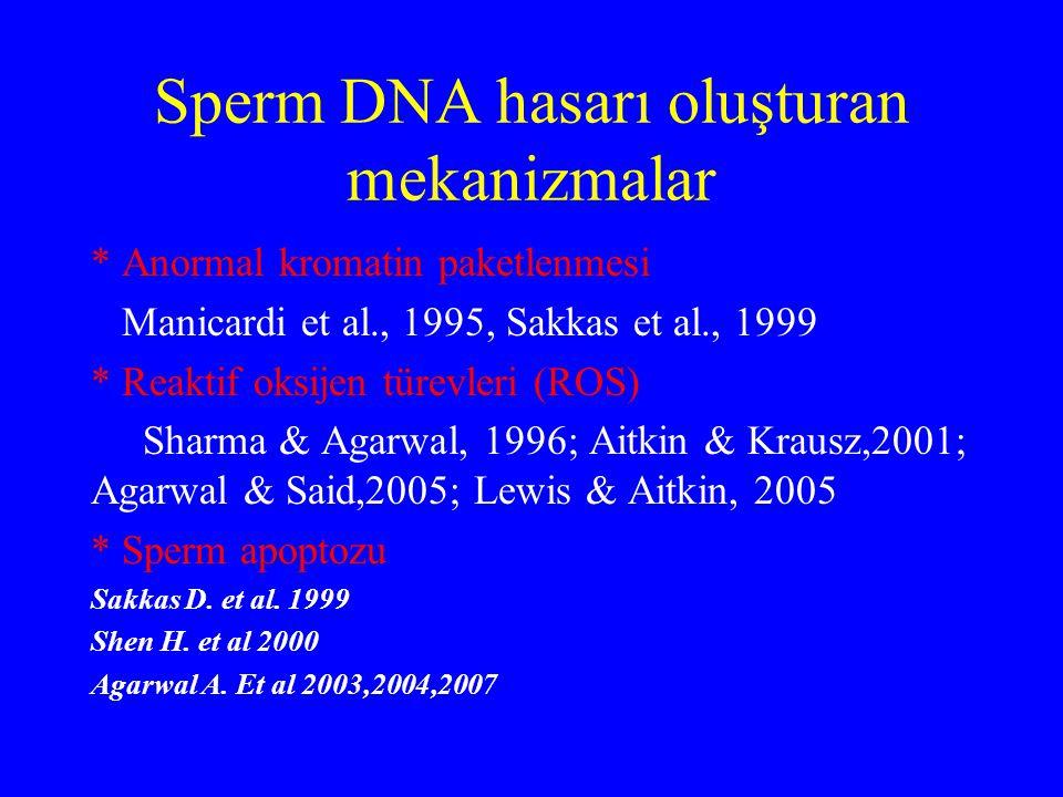 Sperm DNA hasarı oluşturan mekanizmalar * Anormal kromatin paketlenmesi Manicardi et al., 1995, Sakkas et al., 1999 * Reaktif oksijen türevleri (ROS)