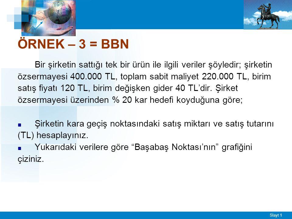 Slayt 1 ÖRNEK – 3 = BBN Bir şirketin sattığı tek bir ürün ile ilgili veriler şöyledir; şirketin özsermayesi 400.000 TL, toplam sabit maliyet 220.000 TL, birim satış fiyatı 120 TL, birim değişken gider 40 TL'dir.
