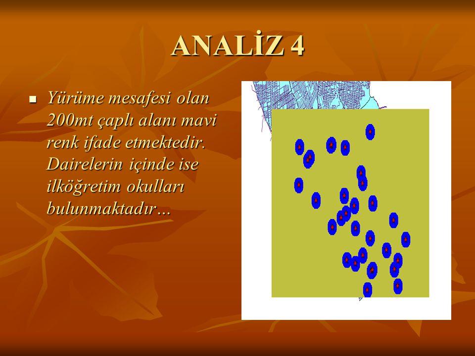 ANALİZ 4 Yürüme mesafesi olan 200mt çaplı alanı mavi renk ifade etmektedir.