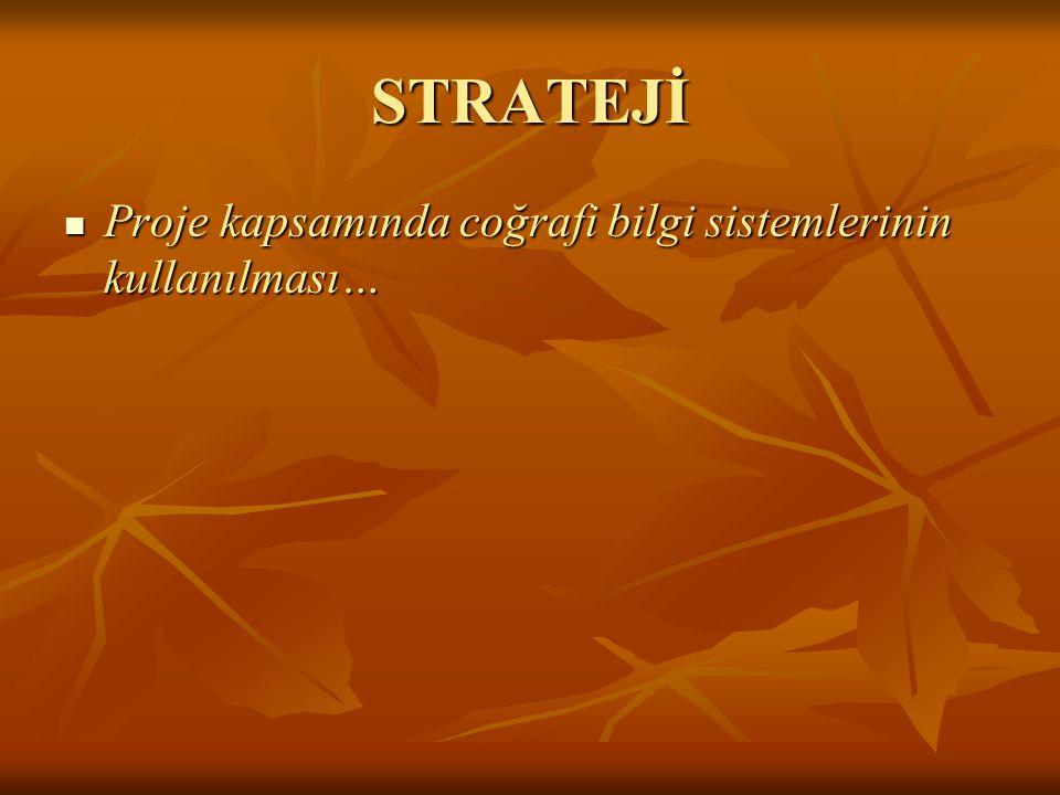 STRATEJİ Proje kapsamında coğrafi bilgi sistemlerinin kullanılması… Proje kapsamında coğrafi bilgi sistemlerinin kullanılması…