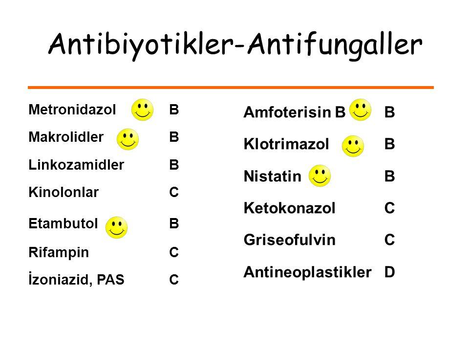 Metronidazol B Makrolidler B LinkozamidlerB KinolonlarC Etambutol B RifampinC İzoniazid, PAS C Amfoterisin B B Klotrimazol B Nistatin B KetokonazolC GriseofulvinC AntineoplastiklerD Antibiyotikler-Antifungaller