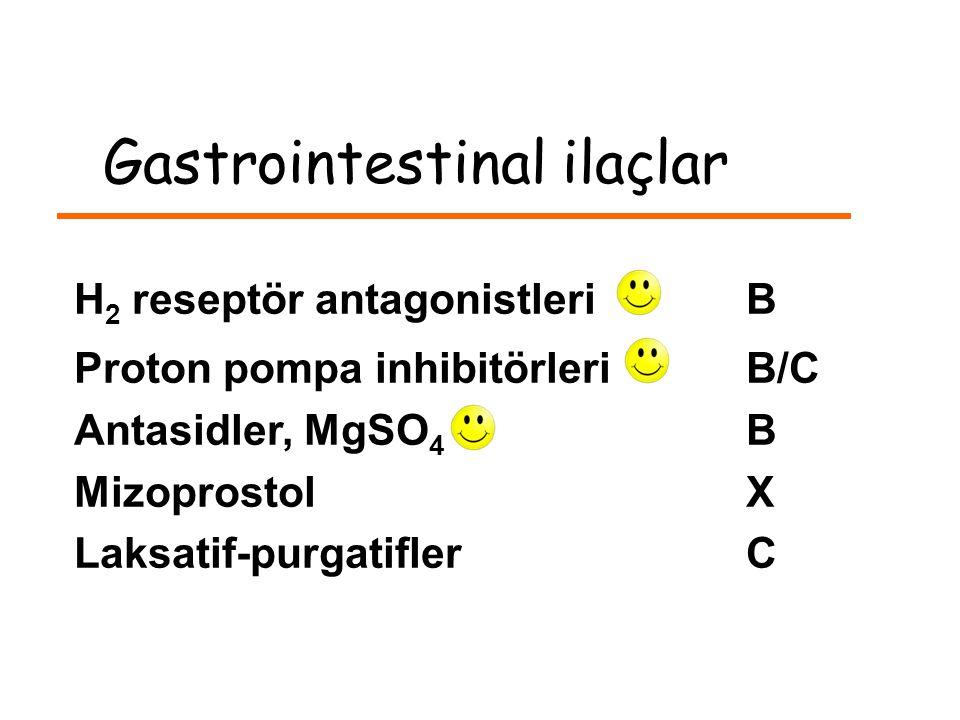 Gastrointestinal ilaçlar H 2 reseptör antagonistleri B Proton pompa inhibitörleri B/C Antasidler, MgSO 4 B MizoprostolX Laksatif-purgatiflerC