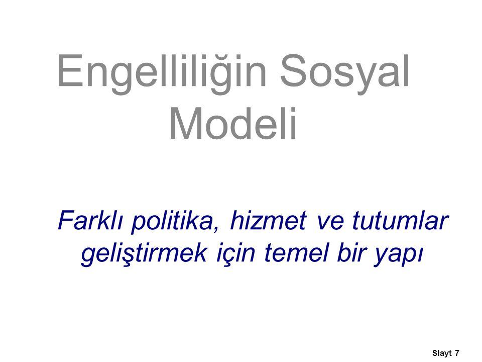 Farklı politika, hizmet ve tutumlar geliştirmek için temel bir yapı Engelliliğin Sosyal Modeli Slayt 7