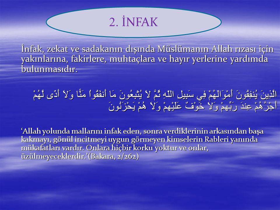 İnfak, zekat ve sadakanın dışında Müslümanın Allah rızası için yakınlarına, fakirlere, muhtaçlara ve hayır yerlerine yardımda bulunmasıdır. الَّذِينَ
