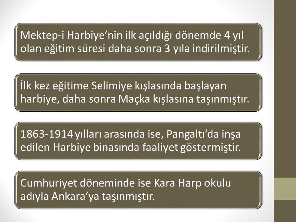 Mektep-i Harbiye'nin ilk açıldığı dönemde 4 yıl olan eğitim süresi daha sonra 3 yıla indirilmiştir. İlk kez eğitime Selimiye kışlasında başlayan harbi