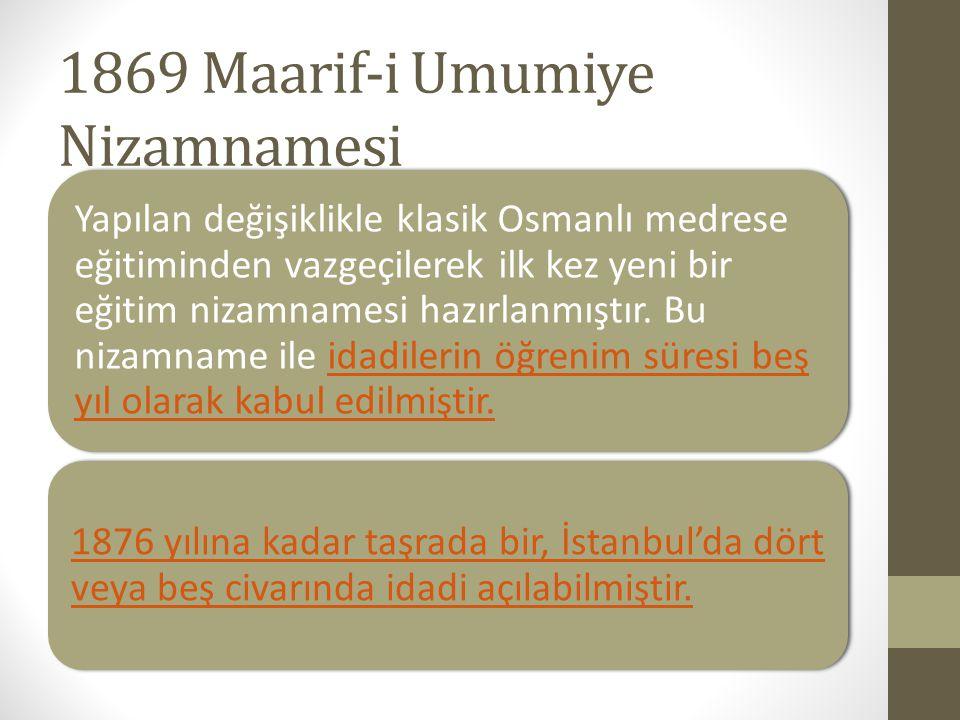 1869 Maarif-i Umumiye Nizamnamesi Yapılan değişiklikle klasik Osmanlı medrese eğitiminden vazgeçilerek ilk kez yeni bir eğitim nizamnamesi hazırlanmış