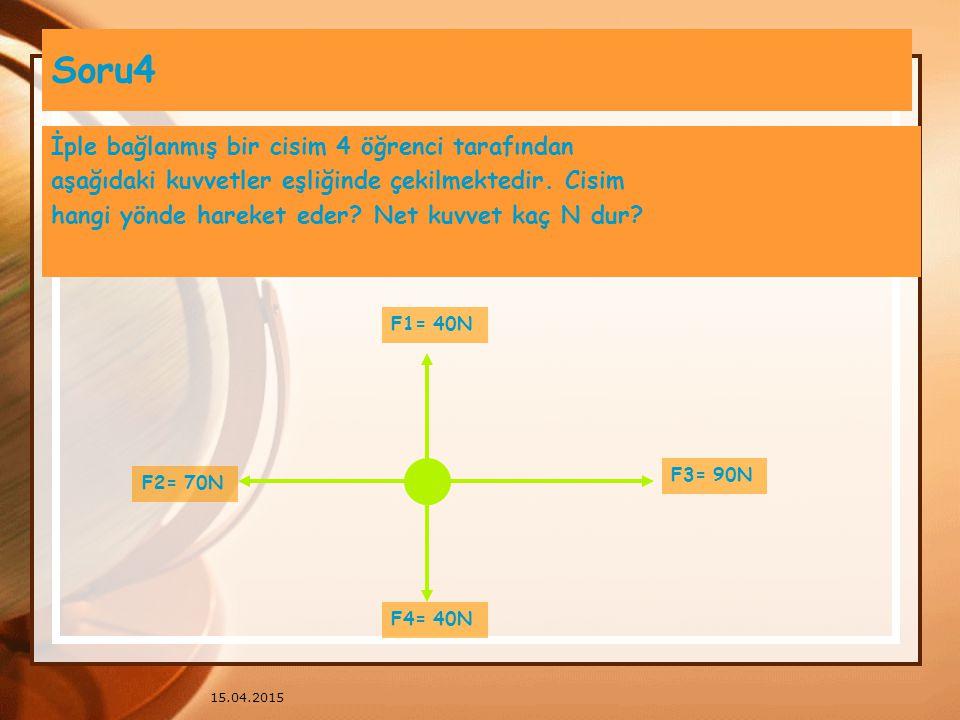 15.04.2015 Soru3 Aşağıdaki cisimlerden hangisi dengelenmiş kuvvetler etkisindedir? 5N 10N 20N 15N 30N 40N 5N