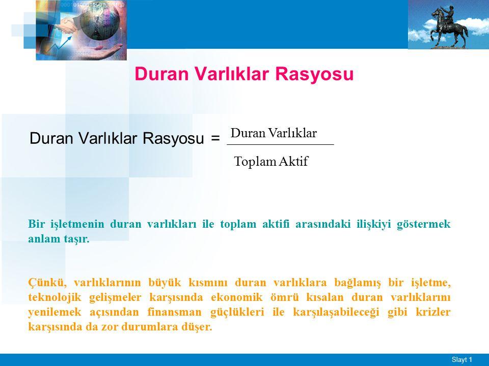Slayt 1 Duran Varlıklar Rasyosu Duran Varlıklar Rasyosu = Duran Varlıklar Toplam Aktif Bir işletmenin duran varlıkları ile toplam aktifi arasındaki il