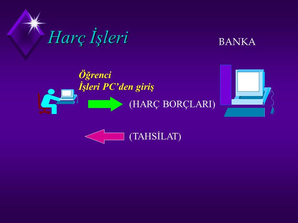 Harç İşleri BANKA Öğrenci İşleri PC'den giriş (HARÇ BORÇLARI) (TAHSİLAT)